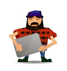 cartoon guy or nerd with vector image vector image