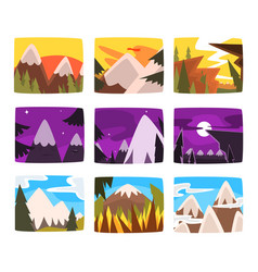 mountain landscapes set in different times of day vector image