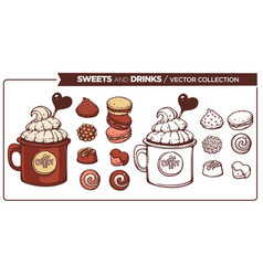 sweets and drinks collection of sketches of vector image