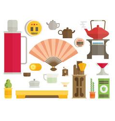 tea ceremony icon set flat vector image