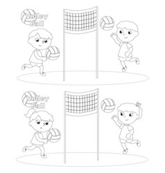 children playing volley ball coloring vector image vector image