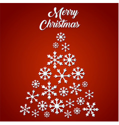 christmas tree made of snowflakes on red vector image vector image