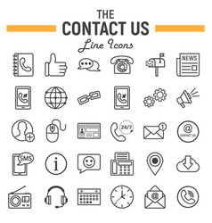 contact us line icon set web button signs vector image vector image