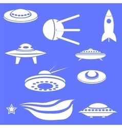 Set of spaceships silhouettes vector