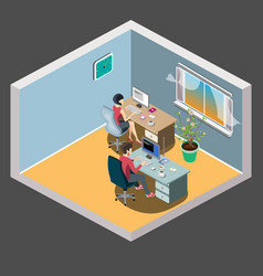 staff around table with laptop tablet office vector image