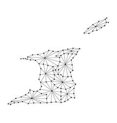 trinidad and tobago map of polygonal mosaic lines vector image