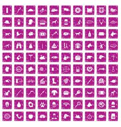 100 dog icons set grunge pink vector