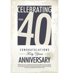 40 years anniversary retro background vector