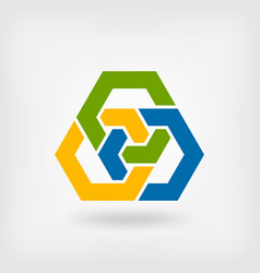 abstract tri-color interlocking hexagons vector image