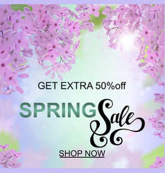 Advertisement about the spring sale on defocused vector