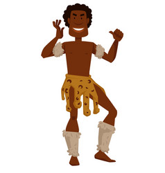 African tribe member man in animal skin and fur vector