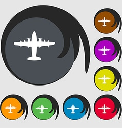 aircraft icon sign Symbol on eight colored buttons vector image