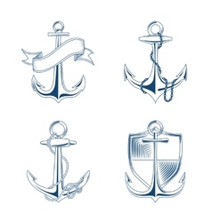 Anchor with rope and chain set vector