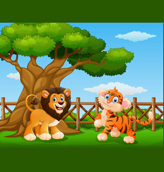 Animals lion and tiger beside a tree inside the fe vector