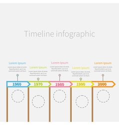 Arrow Flag sticks Horizontal Timeline Infographic vector image