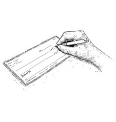 artistic drawing of hand filling check or cheque vector image