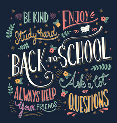 back to school colorful typography drawing vector image