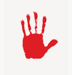 Banner with red handprint on white backdrop vector
