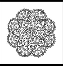 Beautiful monochrome contour mandala vector