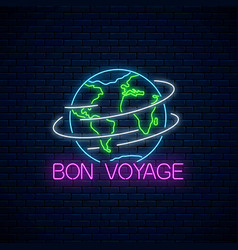 Bon voyage glowing neon banner with spinning vector