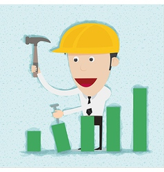 Business man and engineer build graph vector image