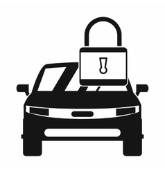 Car with padlock icon simple style vector image