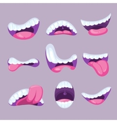 Cartoon mouths expressions set vector