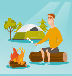 caucasian man roasting marshmallow over campfire vector image