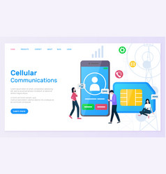 Cellular communication smartphone and sim card vector
