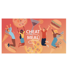Cheat meal concept multiracial happy people are vector