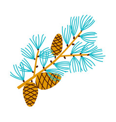Christmas branch of pine with cones vector
