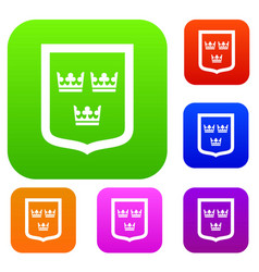 coat of arms of sweden set collection vector image