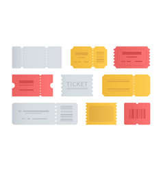 Colorful tickets collection - set flat vector