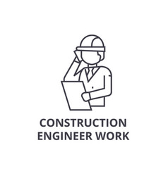 construction engineer talk line icon sign vector image