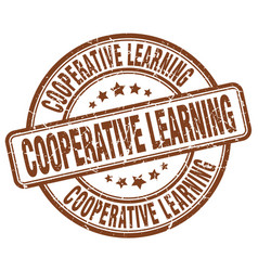 cooperative learning brown grunge stamp vector image