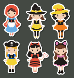 cute cartoon children in colorful halloween vector image