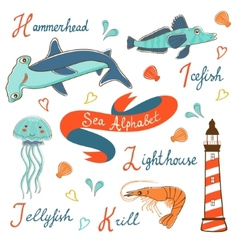 Cute colorful sea alphabet vector image