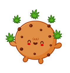 cute funny chocolate cookie jogging marijuana weed vector image