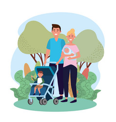 cute man and woman with their son in the stroller vector image