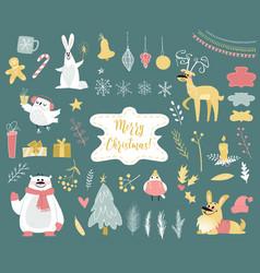 cute winter animals set vector image