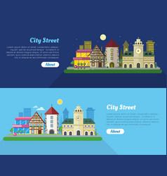 Day and night city street flat banner vector