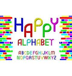 Decorative multicolor font Happy alphabet vector