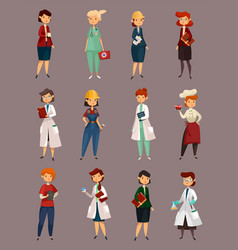 Different female or woman jobs profession or work vector