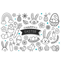 Easter eggs hand drawn on white background happy vector