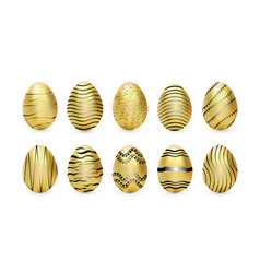 easter golden eggs isolated vector image
