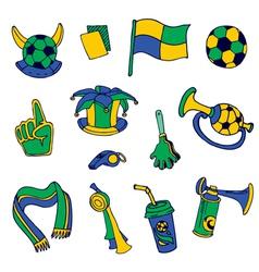 fan elements soccer brazil - hand drawn vector image
