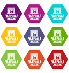 fireplace icons set 9 vector image