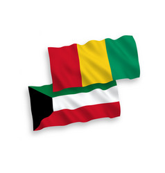 Flags guinea and kuwait on a white background vector