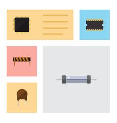 flat electronics set of bobbin resistor cpu and vector image