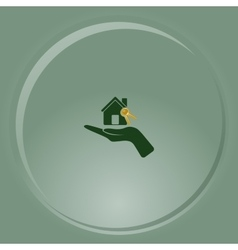 Flat paper cut style icon of home and keys vector image